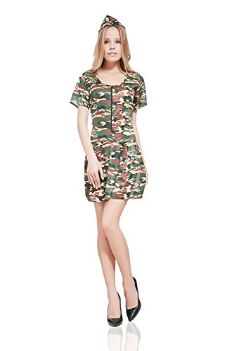 [Adult Women Military Forces Costume Sexy Soldier Army Girl Chick Camo Dress Up (Small/Medium, Green, Avocado Green, Brown)] (Sexy Army Girl Costumes)