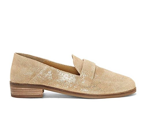 Lucky Brand Womens Chennie Gold Nordic Metallic Loafer Gold Nordic Metallic WP3D6