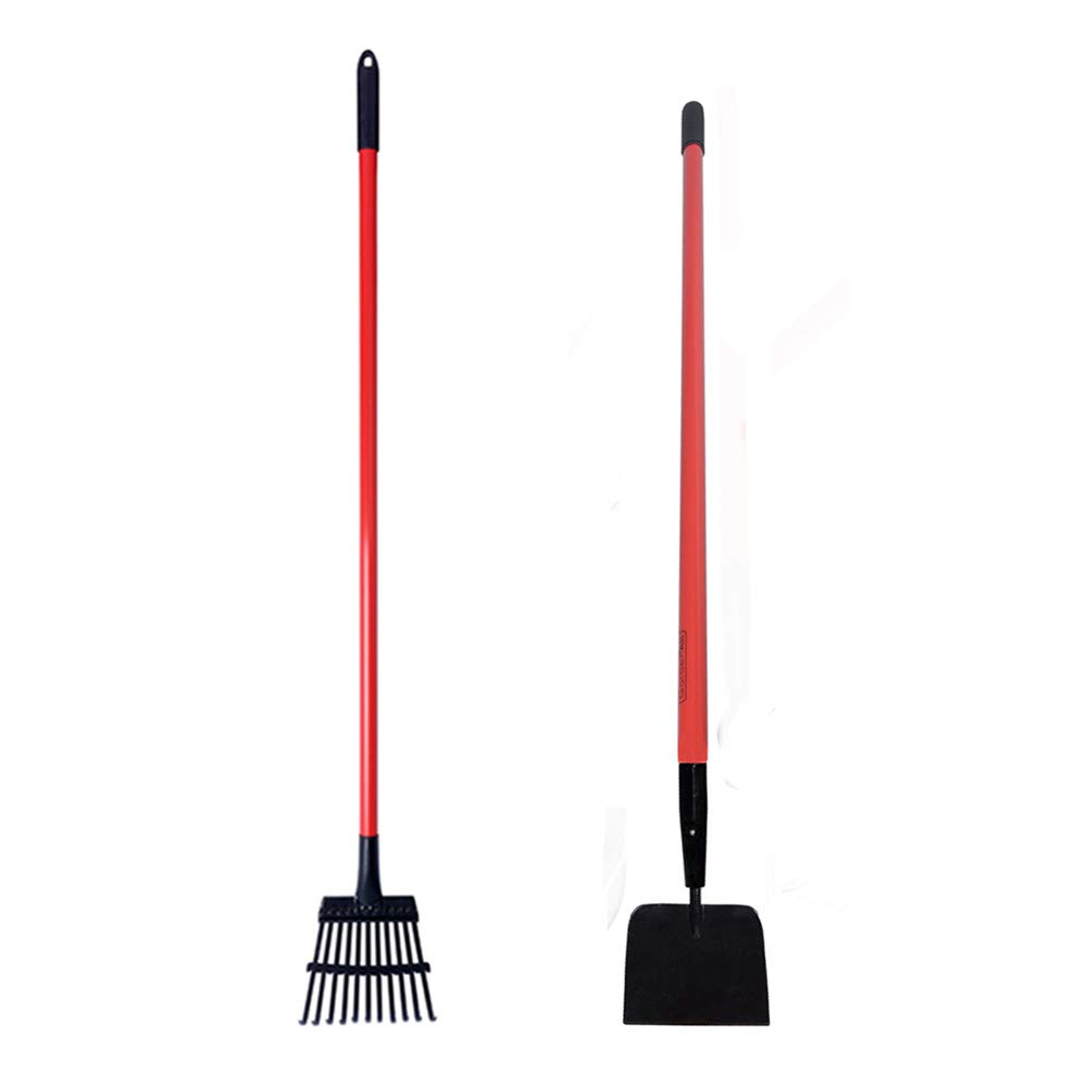 GardenAll 7'' Forged Sidewalk Ice Scraper and 11T Shrub Rake Long Handle Garden Tools Set by GardenAll (Image #1)