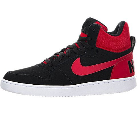 NIKE Men's Court Borough Mid Basketball-Shoes, Black/Action Red/White, 13 D US