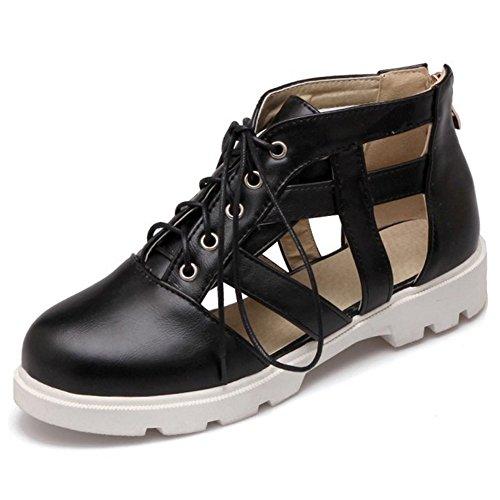 COOLCEPT Women Fashion Lace Up Cut Out Summer Pumps Flat Closed Toe Sandals Zip Shoes Size Black