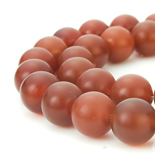 BEADNOVA 8mm Natural Matte Finish Red Agate Carnelian Gemstone Round Loose Beads For Jewelry Making (48-50pcs/Strand) (8 Mm Genuine Agate)