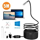 IWOBAC Semi-Rigid USB Endoscope, 2.0 Megapixels HD 8.5mm Waterproof Borescope Inspection Camera with 6 Adjustable LED Lights for Windows PC MacBook Laptop (5m/16.4ft)