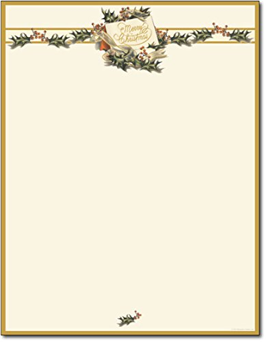 Vintage Christmas Holly Stationery - 80 Sheets
