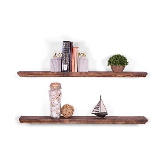 "DAKODA LOVE 5.25"" Deep Routed Edge Floating Shelves, USA Handmade, Clear Coat Finish, 100% Countersunk Hidden Uni-Brackets, Beautiful Grain Pine Wood Wall Decor (Set of 2) (36"", Bourbon) - 36 inch long floating shelves with routed edges. Sits flush against wall with 100% countersunk Uni-Brackets (includes all mounting hardware) Handcrafted with furniture grade dry kilned pine wood Hand wiped stain and clear coat finish - wall-shelves, living-room-furniture, living-room - 41eG iHOYXL. SS570  -"