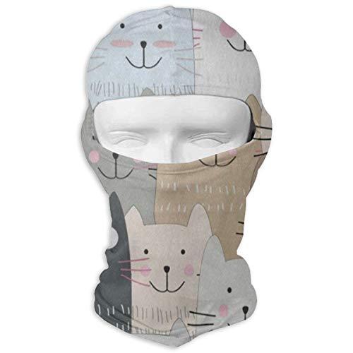 Balaclava Cute Funny Black Gray Cat Full Face Masks Ski Sports Cap Motorcycle Neck Hood -