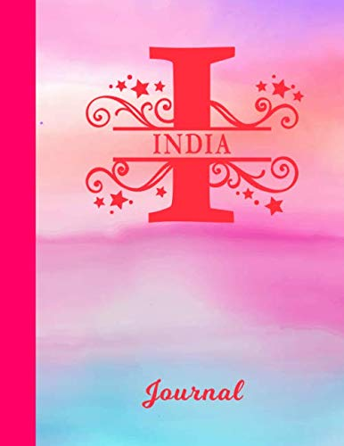 India: Blank Journal - Personalized First Name & Letter Initial Personal Writing Diary | Glossy Pink & Blue Watercolor Effect Cover | Daily Journalism ... | Write about your Life, Goals & Interests (Best Gift For Mother In Law India)