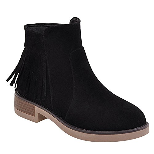 Charm Foot Womens Comfort Zipper Nappe Stivaletti Tacco Basso Nero