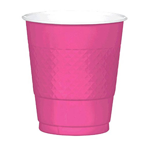Amscan Bright Pink Plastic Cups | 12 oz. | Party Supply | 200 ct.