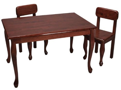 Gift Mark Natural Hardwood Queen Anne Rectangle Table and Chair