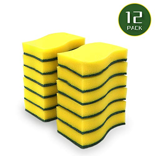 """AIDEA Cleaning Scrub Sponge, Stink Free Sponge, Non-Scratch Scrub Sponge, Effortless Cleaning Eco Scrub Pads for Dishes, Pots, Pans All at Once, Size: 4.3""""x 3.12"""" x 1.2""""-12 Count"""