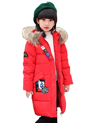 CUKKE Girl's Down Jacket Hooded Winter Warm Outwear Thicker Down Jacket (140,Red) by CUKKE