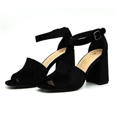 Shoes de paquete Heel Fish mujer Take black Banquet Word Hebilla Sandalias tacón Heel QPYC Mouth Rough One para alto Roman wUqO7