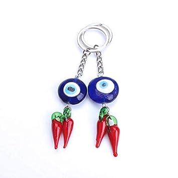 Pavo Evil Eye Llavero Llavero Rojo Chili Mar Estrella ...