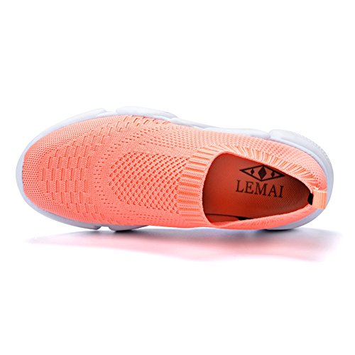 Qansi Kvinna Sneakers Mush Ultralätt Athletic Tennis Kör Andas Vatten Skor Täpper Sandaler Persika