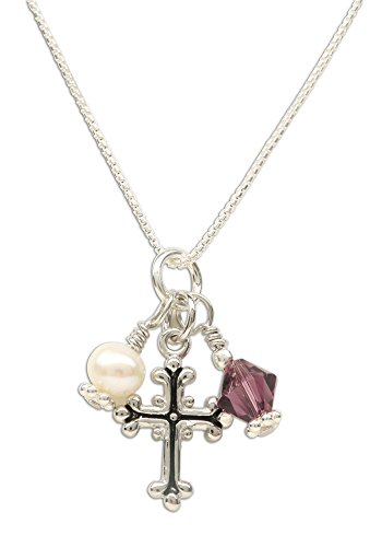 Girl's First Communion Sterling Silver February Swarovski-Created Birthstone Cross Necklace with Cultured - February Cross Birthstone
