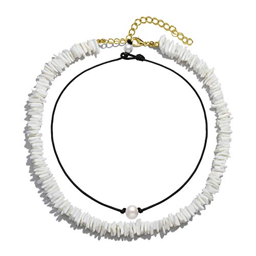 VUJANTIRY Puka Shell Choker Necklace for Women Hawaiian Seashell Pearls Choker Necklace Statement Adjustable Cord Necklace Set (Shell&Pearls Choker #3)