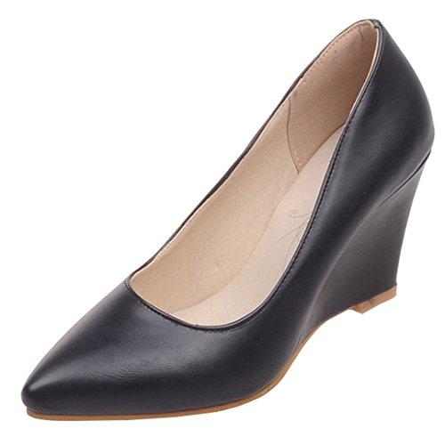 d3dc6499b40378 YE Damen Keilabsatz Pumps Spitze High Heels Geschlossen mit 8cm Absatz  Elegant Schuhe Schwarz