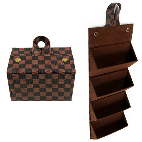 4 Slots Foldable Checkered Sunglasses Travel Organizer Case Multiple PU Vegan Leather Eyeglass Display Storage Box for Men Women