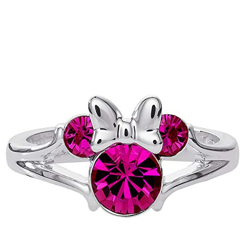 Disney Minnie Mouse Birthstone Jewelry for Girls, Silver Plated Fuchsia Crystal October Ring Size 4, Mickey's 90th Birthday Anniversary (Personalized Disney Jewelry)