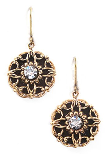 Clara Beau Exquisite Black GoldTone Swarovski crystal Filigree earrings - Swarovski Filigree Crystal Earrings