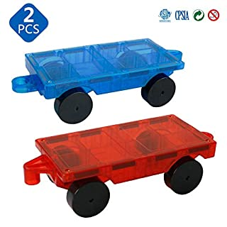 Magblock 2 Pieces Car Truck Chassis Wheel SetCompatible with MagneticTiles Magnet Toys forKidsToddlers Preschool Gift Toys