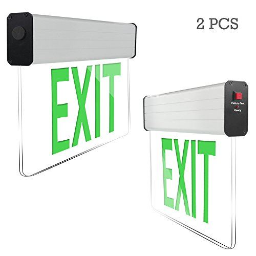 eTopLighting [2 Pack] Edge Lit Exit Sign LED Light Panel, Green Lettering, Battery Backup, Transparent See Through, Mount on Wall and Ceiling, Rotary Surface Mounting, AGG2134 - Edge Lit Led Sign