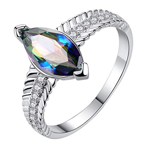Goddesslili Geometrical Horse Eye Colorful Zircon Ring Jewelry,Women Fashion Creative Trends Natural Luxury Light Promise Ring ()
