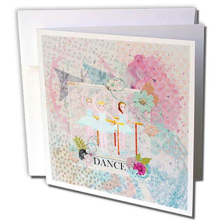 3dRose Beverly Turner Ballerina Design - Ballerina Dancers, Flower Dance Frame, Pastel Abstract Design - 6 Greeting Cards with envelopes - Beverly Ballerina