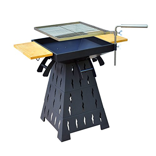 Outsunny Wood Burning/Charcoal Outdoor Fire Pit BBQ Grill Combo