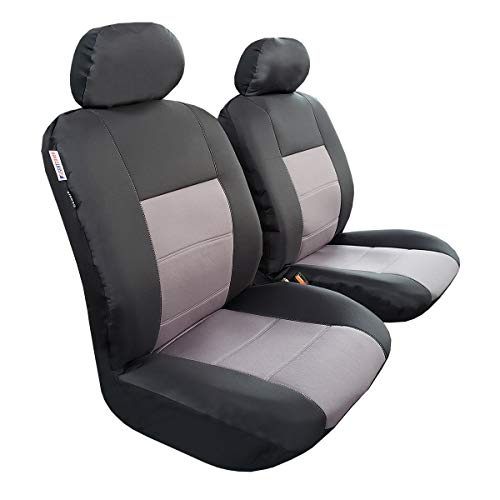 3 Layer Waterproof Car Seat Covers, Universal Fit Canvas Auto Seat Cover With Low Back Bucket, Modernistic Airbag Compatible, 2 Front Seats Black & Grey With Headrest Covers, Fit Most Car, Truck, Suv