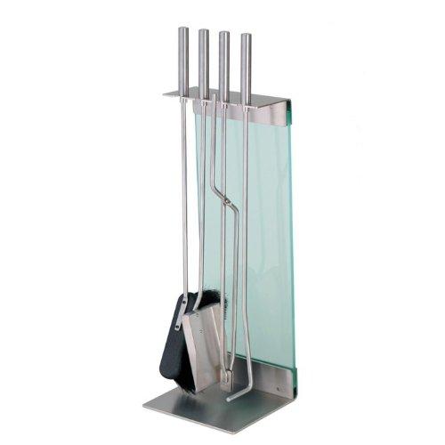 Kaminbesteck Modern conmoto teras kaminbesteck 5 teilig edelstahl glas klar amazon de