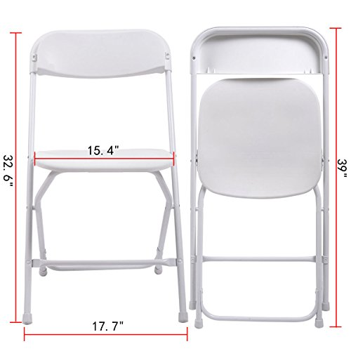 10 Pack Commercial White Plastic Stackable Wedding Party Event Folding Chairs
