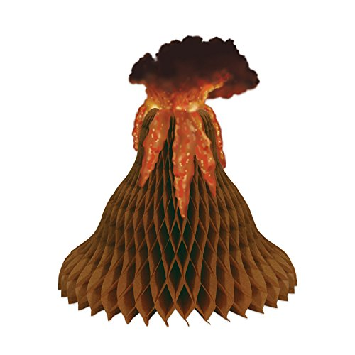 Beistle Tissue Volcano Centerpiece | Tiki & Tropical Island Party Decoration (3-Pack)
