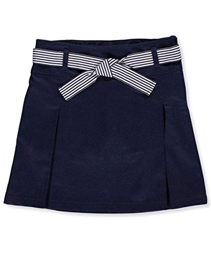 French Toast Big Girls' Belted 2-Pleat Scooter, Navy, 10 (Uniform Skirt Skorts)