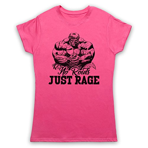 No Roids Just Rage Bodybuilding Culture Slogan Camiseta para Mujer Rosa