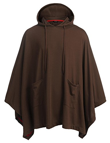 Brown Hooded Sweater (COOFANDY Unisex Casual Hooded Cloak Poncho Cape Coat With Pocket)