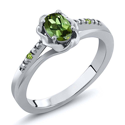 0.51 Ct Oval Green Tourmaline and Simulated Peridot 925 Sterling Silver Ring (Size 7)
