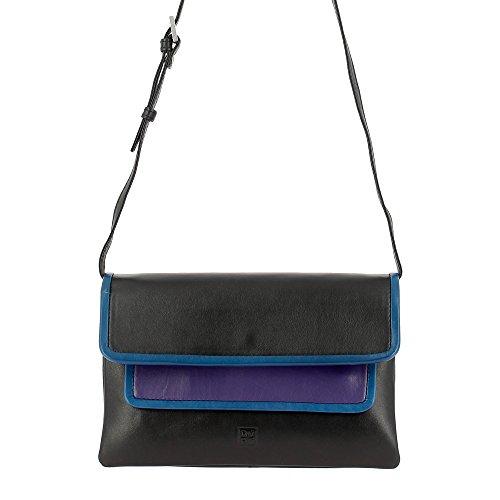 DUDU Borsa a Tracolla da Donna Multi-color in Pelle Nappa con Patta forma Rettangolare Colorata Nero