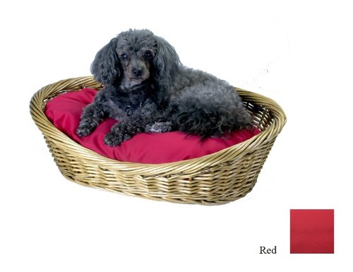 Snoozer Large Wicker Basket Pet Bed with Red Pillow, My Pet Supplies