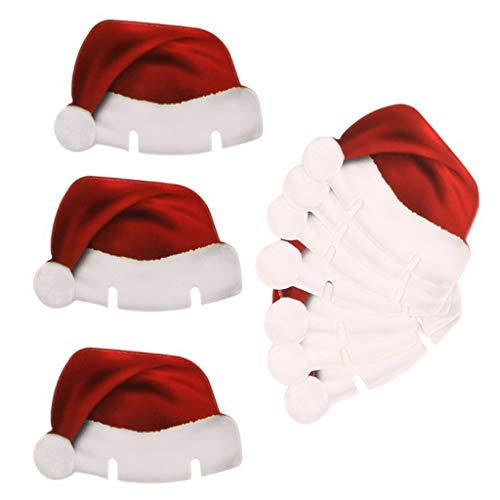 JANOU Christmas Cap Wine Glass Cards Xmas Hat Seat Name Cards Place Cards for Christmas Wedding Party Decoration Pack 50pcs