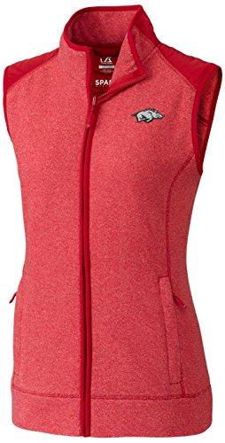 Cutter & Buck NCAA Arkansas Razorbacks Adult Women Cedar Park Full Zip Vest, Small, Cardinal Red Heather