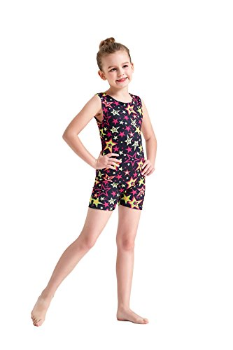 Kql Leotards for Kids Star Gymnastics Shiny Tank Unitards with Shortall for Little Girl One-Piece Tumbling Dancing Thigh Length Biketards 3-10Y