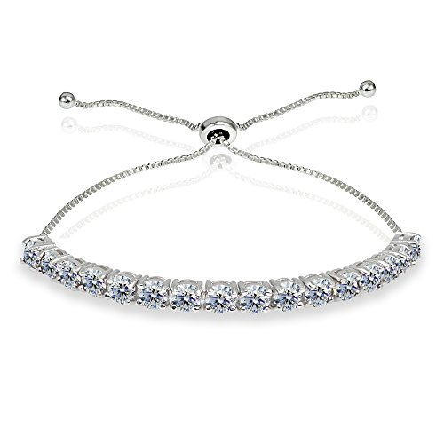 Sterling Silver 4mm Clear Round-cut Bolo Adjustable Bracelet made with Swarovski (Line Clear Stone Bracelet)
