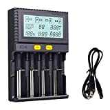 KINDEN 18650 Smart Battery Charger Universal Intelligent 4 Slot Automatic LCD Display for Li-ion LiFePO4 Ni-MH Ni-Cd AA AAA C 26650 18350 17670 18700 21700 20700 RCR123 Fire Prevention Material