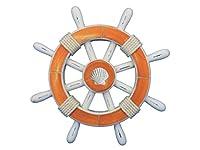 "Hampton Nautical  Decorative Ship Wheel with Seashell, 12"", Rustic Orange/White"
