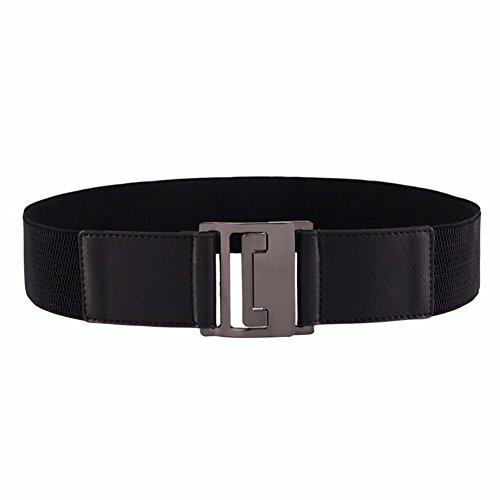 Decorative Woman Belt Black Simple 1'' Belt Dress Down Elastic 69cm Stretch Winter black Lengthened 27 Waist Jacket Wide Seal rnYxrFwBq