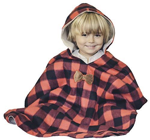 Kids Car Seat Poncho Lumberjack Deer Reversible Warm Blanket Safe Use OVER Seat Belts Buffalo Plaid
