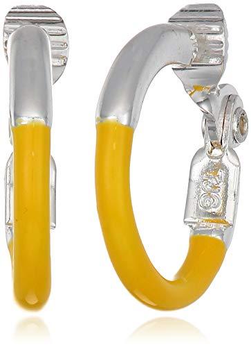 (Napier Women's Silver/Yellow Medium EZ Comfort Clip Hoop Earrings)