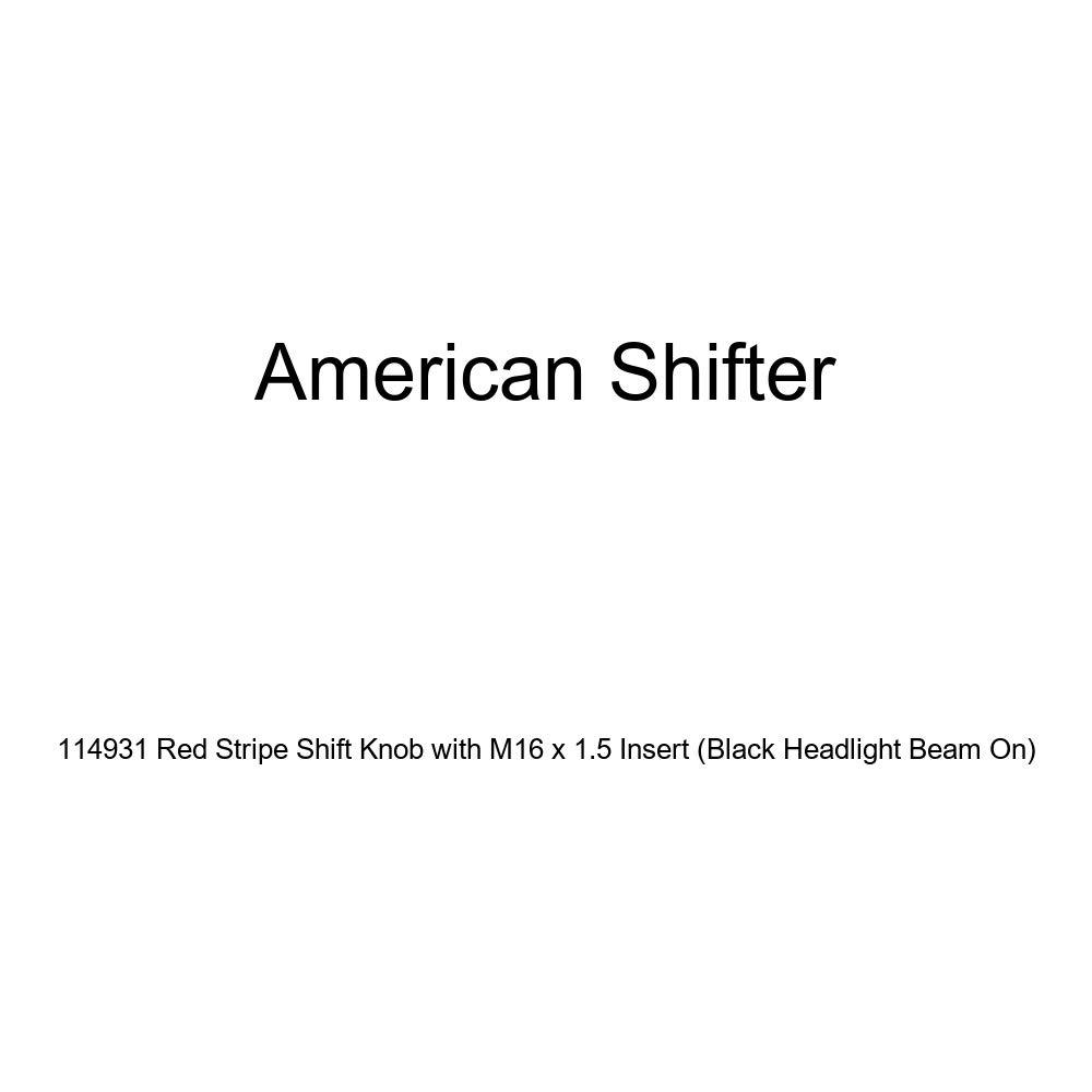Black Headlight Beam On American Shifter 114931 Red Stripe Shift Knob with M16 x 1.5 Insert